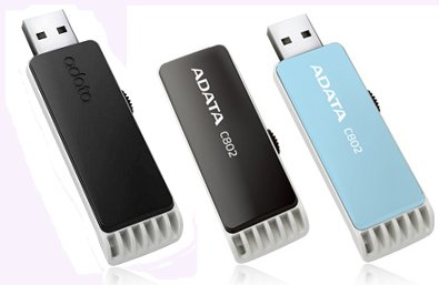ADATA C802 Flash Drives in black & blue, tilted