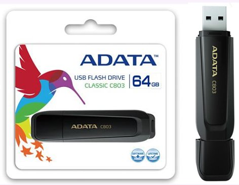 ADATA C803 Flash Drive in packaging & standing upright