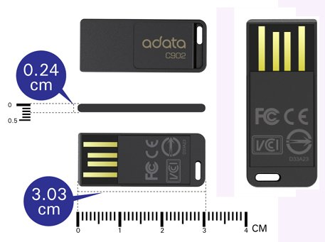 ADATA C902 Flash Drives with cm Measurements