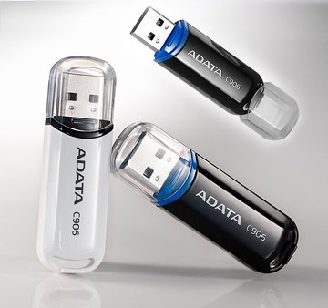 ADATA C906 Flash Drive in black & white, tilted