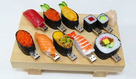 Plate of USB Sushi Flash Drives